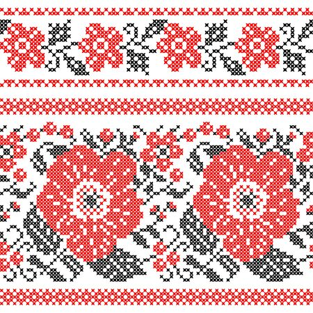 Seamless texture of abstract flat red black roses