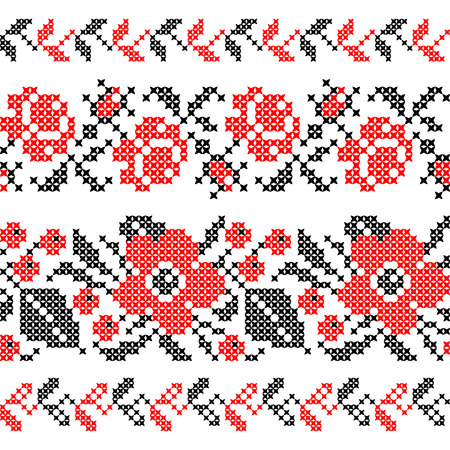 cross stitch: Seamless texture of abstract flat red black flowers Illustration