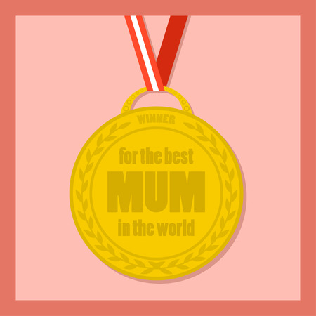 momma: Flat icon of medal with ribbon for the best mum in the world