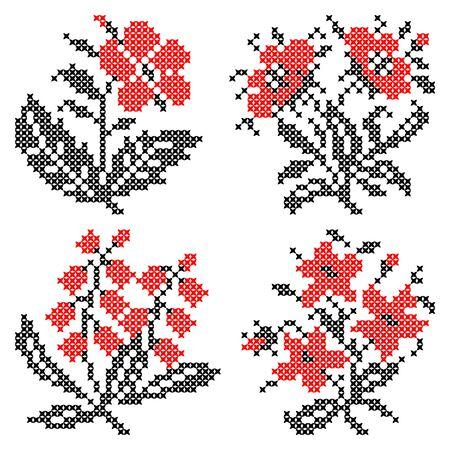 punto cruz: Ilustración de abstractas planas flores rojas negras