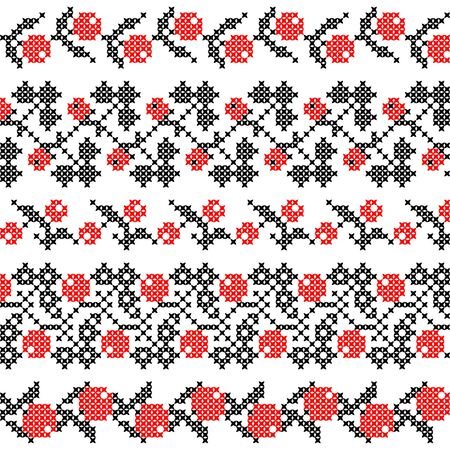 guelder rose: Set of abstract flat red black ornaments