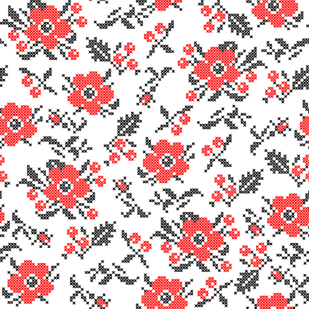 guelder rose: Seamless texture of abstract flat red black flowers Illustration