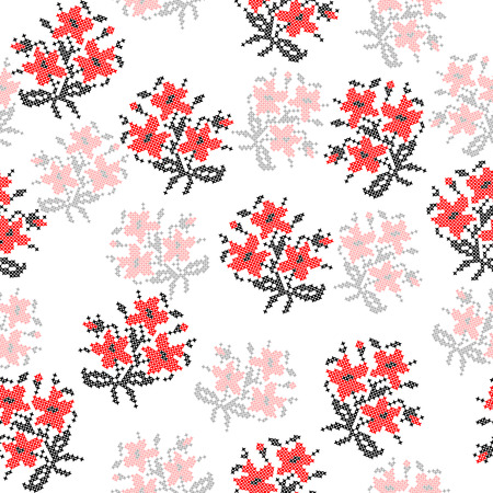 criss cross: Seamless texture of abstract flat red black flowers Illustration