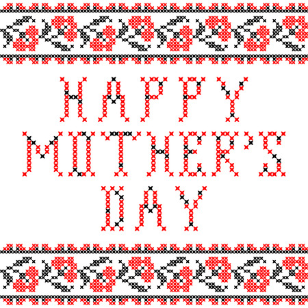 guelder rose: Illustration of abstract flat red black ornaments happy mothers day Illustration