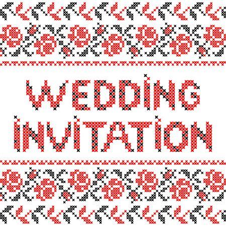rosas negras: Ornamento de abstracta plana roja rosas negras invitación de la boda