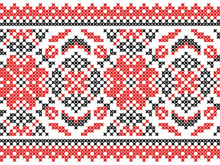 red on black: Seamless texture of abstract flat red black ornaments