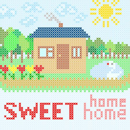 red cross red bird: Abstract illustration of sweet home with embroidery