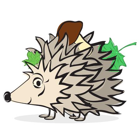 prickles: Cartoon illustration hedgehog with mushroom and leaves