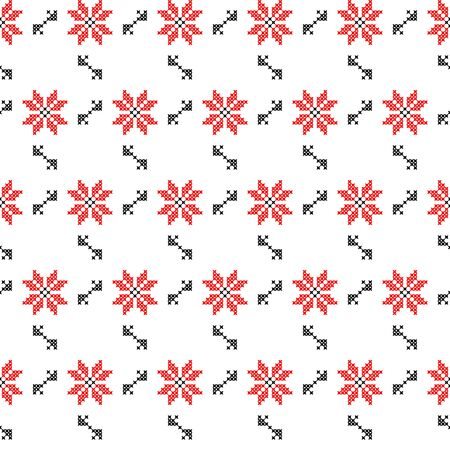 red on black: Seamless texture of abstract red black flowers with embroidery