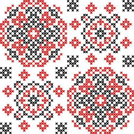 decorative pattern: Seamless texture of abstract flat red black ornaments