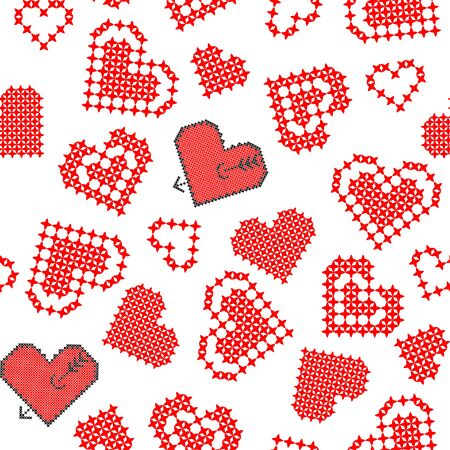 rouge et noir: Isolated seamless texture of flat red black hearts with embroidery
