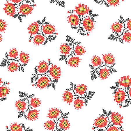 red on black: Seamless texture with embroidered red black poppies