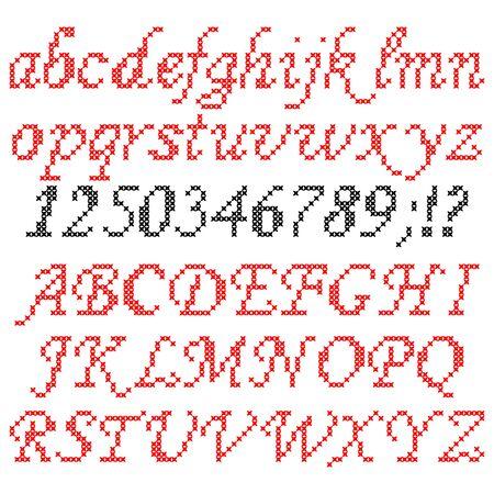 red on black: Isolated illustration of flat red black English font Illustration