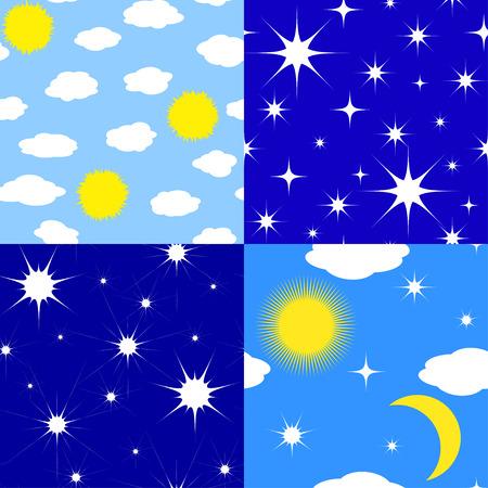 zon en maan: Set of seamless textures stars, sun, moon, clouds Stock Illustratie