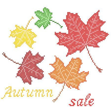 jaune rouge: Isolated illustration of maple red, yellow, orange, green leaves with embroidery. Autumn sale