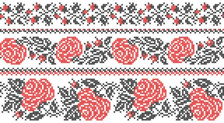 Seamless texture of abstract flat red black flowers with embroidery