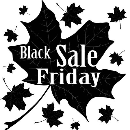 advantageous: Isolated illustration of maple leaves with text Black Friday Sale