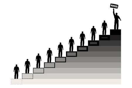 mlm: Isolated illustration of flat graphic with men on the steps of career Illustration