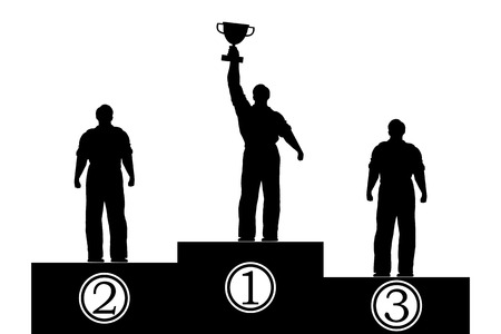 pedestal: Flat isolated illustration. Silhouettes of men on the pedestal. Award