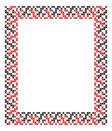 criss: Frame. Red black patterns on canvas. Embroidery