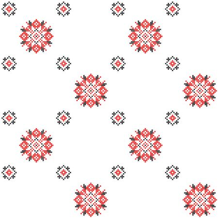 criss cross: Seamless texture with black and red ornaments.Abstract flowers