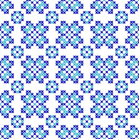 cross stitch: Seamless texture with blue ornaments. Embroidery. Cross stitch. Abstract patterns Illustration