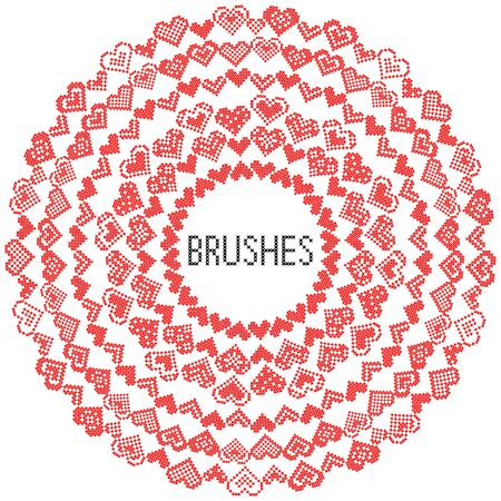 cross stitch: Set of pattern brushes. Abstract red hearts. Embroidery. Cross stitch Illustration