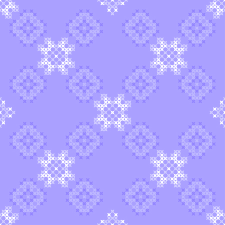 dinky: Seamless texture with blue ornaments. Embroidery. Cross stitch. Abstract patterns Illustration