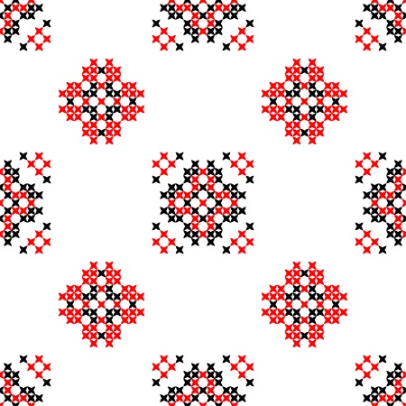 bedcover: Seamless texture with red and black abstract patterns for tablecloth.Embroidery.Cross stitch.