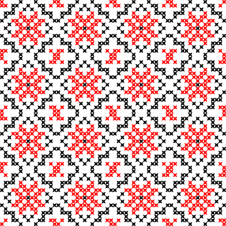 coverlet: Seamless texture with red and black abstract patterns for tablecloth.Embroidery.Cross stitch.