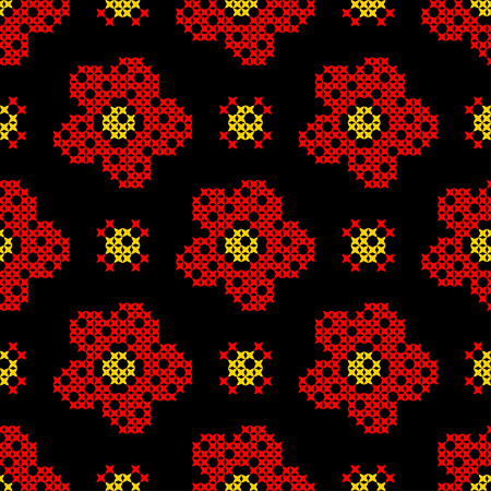 Seamless texture with abstract red, yellow flowers on black background. Embroidery. Cross stitch.