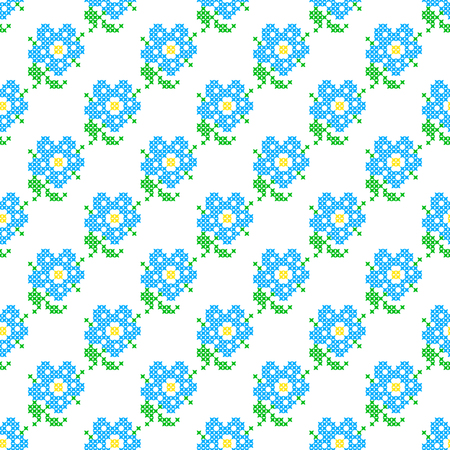 summerly: Seamless isolated texture with abstract blue embroidered flowers with leaves for tablecloth. Embroidery. Cross stitch Illustration
