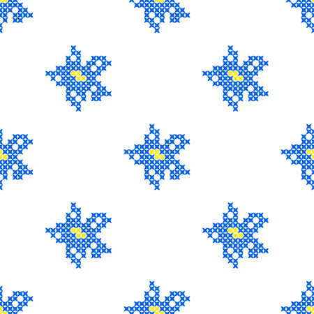 summerly: Seamless isolated texture with abstract blue embroidered flowers for tablecloth. Embroidery. Cross stitch.