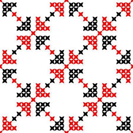 bedcover: Seamless texture with red and black abstract patterns for tablecloth. Embroidery. Cross stitch. Illustration