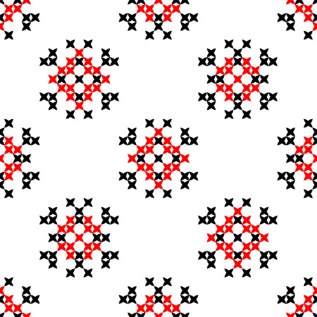 criss: Seamless texture with red and black abstract patterns for tablecloth.Embroidery.Cross stitch.