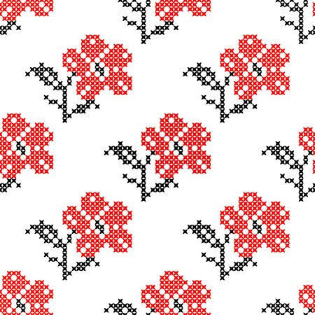 summerly: Seamless isolated texture with abstract red embroidered flowers carnations for cloth. Embroidery. Cross stitch.