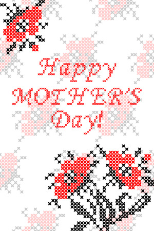 Greeting card Happy Mothers Day with flowers.Embroidery. Cross stitch.