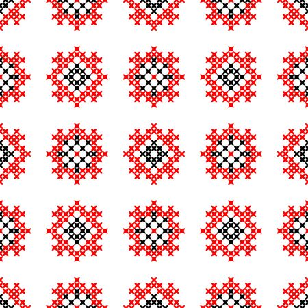 bedcover: Seamless texture with red and black abstract patterns for cloth.Embroidery.Cross stitch.