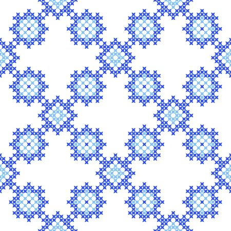 bedcover: Seamless texture with blue abstract patterns for cloth.Embroidery.Cross stitch