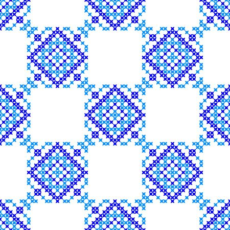 coverlet: Isolated seamless texture with blue abstract patterns for tablecloth.Embroidery.Cross stitch Illustration