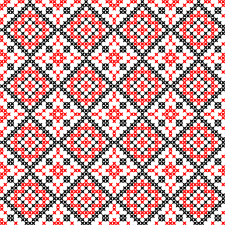 bedcover: Isolated seamless texture with red and black abstract patterns for tablecloth.Embroidery.Cross stitch.