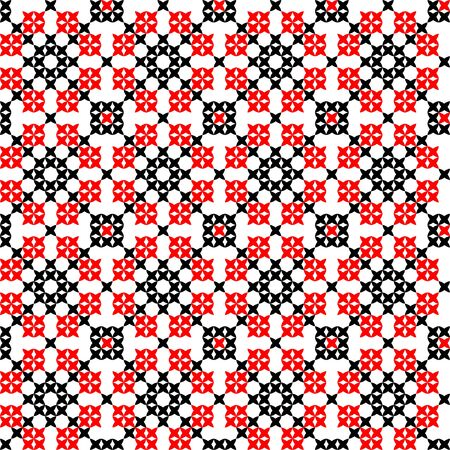 Seamless isolated texture with red and black abstract patterns for tablecloth.Embroidery.Cross stitch.