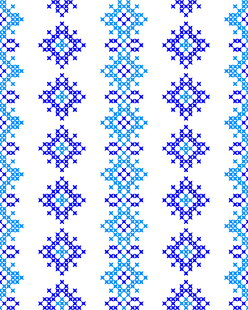 coverlet: Seamless texture with blue abstract patterns for tablecloth.Embroidery.Cross stitch. Illustration