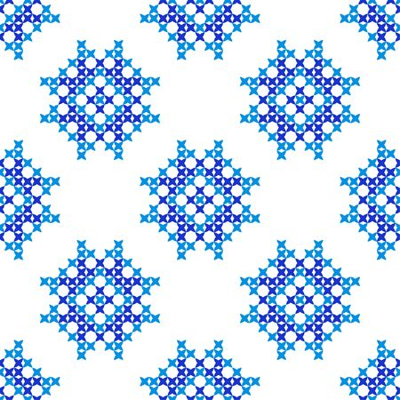 bedcover: Isolated seamless embroidered texture with abstract blue ornaments.Patterns for cloth. Embroidery.Cross stitch