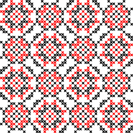 coverlet: Isolated seamless embroidered texture with red and black abstract patterns for cloth. Cross stitch