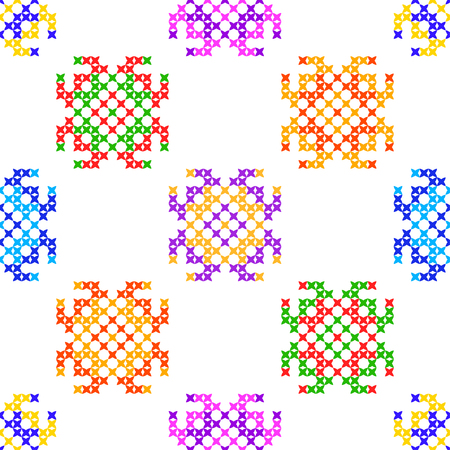 bedcover: Seamless isolated texture with abstract color embroidered patterns for cloth. Embroidery. Cross stitch