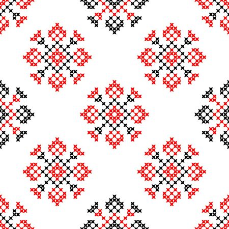 Seamless isolated texture with abstract red and black embroidered flowers for cloth. Embroidery. Cross stitch Illustration