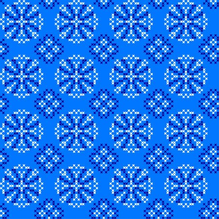 bedcover: Seamless embroidered texture with abstract blue ornaments.Snowflakes.Patterns for cloth. Embroidery.Cross stitch Illustration