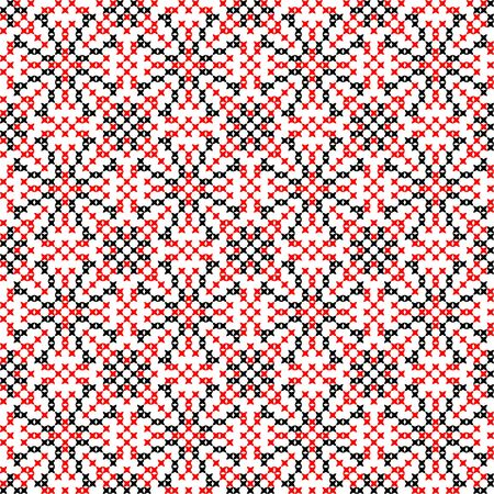 bedcover: Isolated seamless embroidered texture with red and black abstract patterns for cloth. Cross stitch.