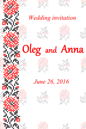 embroidered: Wedding invitation with embroidered flowers, black and red embroidery